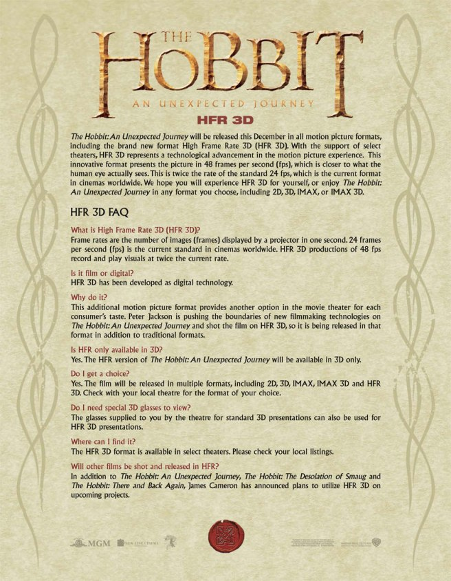 The hobbit 3D HFR 48fps FAQ disclaimer