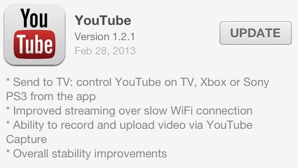 youtube send to tv update